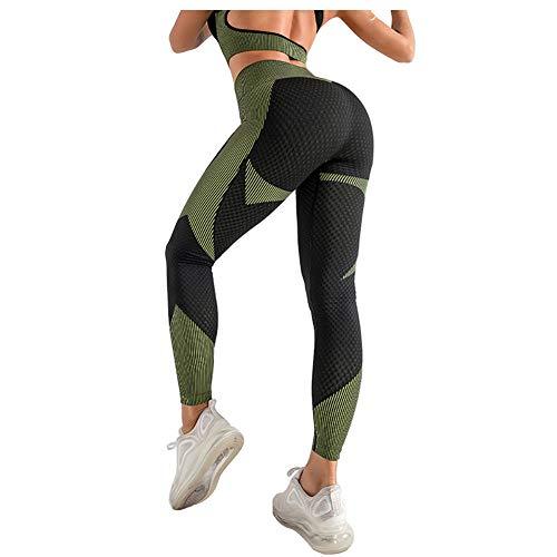 LJBOZ Leggings Sin Costuras Deportivo Polainas de Yoga, Mujer Pantalon Deportivo Alta Cintura Yoga, Cintura Alta Leggings para Running Fitness con Gran Elásticos