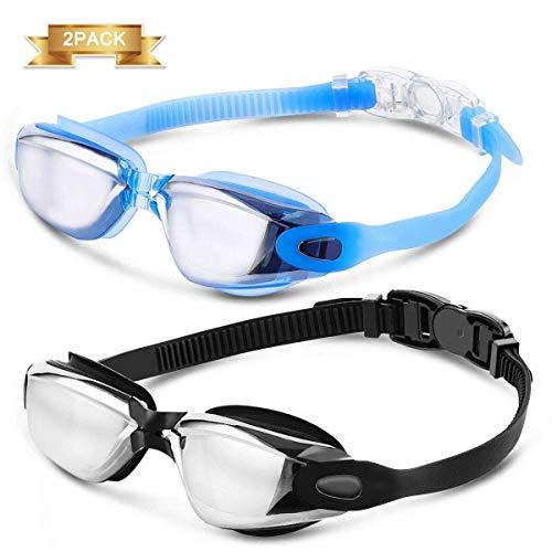Occhialini da nuoto, CAMTOA antiappannamento lenti colorate a specchio protezione UV per adulti, uomini, donne, regalo quattro Naselli di occhiali e due coppie tappi per le orecchie,2 pack,Nero,blu