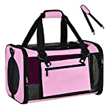 YUYIMONA Cat Carriers Dog Carrier Pet Carrier for Small Medium Cats Dogs Puppies up to 15 Lbs, TSA Airline Approved Small Dog Carrier Soft Sided, Collapsible Waterproof Travel Puppy Carrier Pink