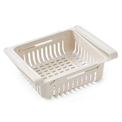 Einstellbarer Kühlschrank Organizer Ausziehbarer Schubladenkorb Fresh Spacer Layer Rack , Einziehbar, Kühlschranktrennwand, abnehmbare Aufbewahrungsbox, (Aprikose)