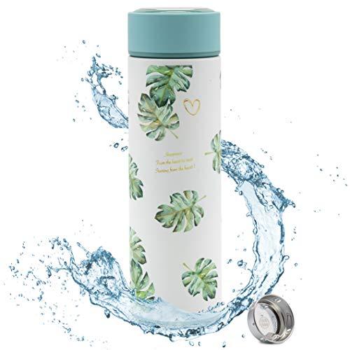 RaKao Premium Trinkflasche grün mit Tee/Früchte-Sieb| Water Bottle + Teesieb BPA frei - 450ml Edelstahl Thermosflasche | Wasserflasche Freizeit Büro Outdoor Schule Sport Fahrrad Kaffee Tee
