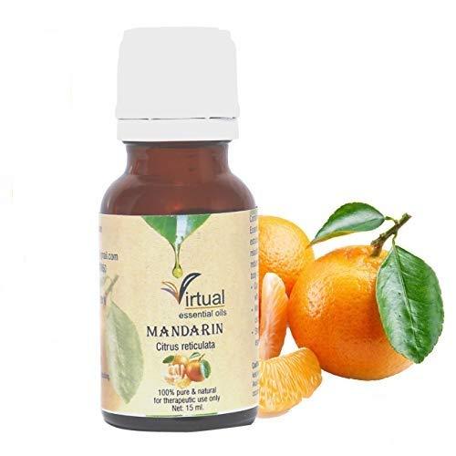 VIRTUAL Mandarin (Citrus Reticulata) Therapeutic Grade Steam Distilled Undiluted Essential Oil for Skin Care and Hair 15ML