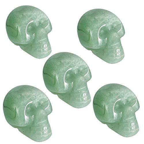 favoramulet Mini 1' Crystal Human Skull Head Statue Figurine, Hand Carved Pocket Stone Halloween Sculptures Decoration Healing Reiki, Pack of 5, Green Aventurine