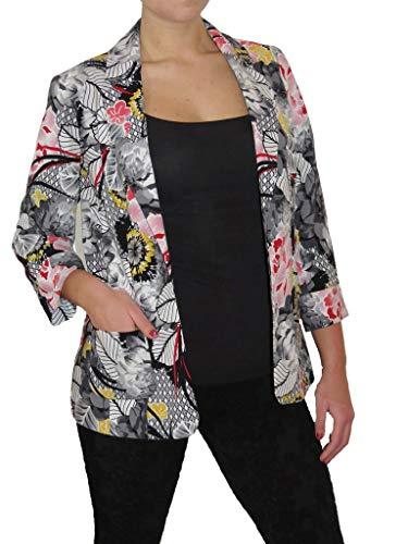 icecoolfashion Open Front Blazer Jacket Wasbaar Volledig Gevoerd Multi Kleur Bloemen Maat 10