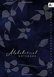 Alphabetical Notebook: B5 Lined-Journal Organizer Medium with A-Z Alphabet Tabs Printed   Cute Vine Leaves Design Marble Blue Black