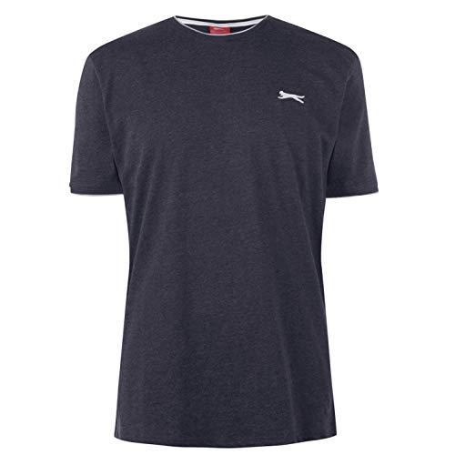 Slazenger Herren Tipped T Shirt Kurzarm Rundhals Tee Top Bekleidung Kleidung Grau1 XXXXL