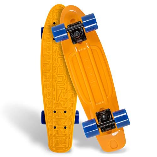 Flybar 22 Inch Complete Plastic Cruiser Skateboard Custom Non-Slip Deck Multiple Colors (Orange)
