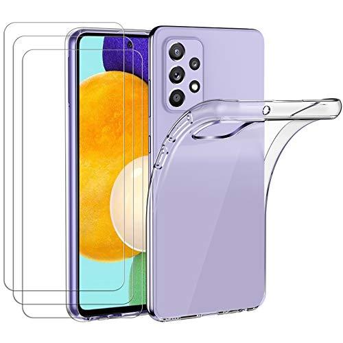 ivoler Hülle für Samsung Galaxy A52 4G / 5G, mit 3 Stück Panzerglas Schutzfolie, Dünne Weiche TPU Silikon Transparent Stoßfest Schutzhülle Durchsichtige Handyhülle Kratzfest Hülle