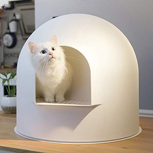 Caja de Arena para Gato Todo Cerrado Casa de Nieve Encantador Aseo Gatitos Antiolor Ecológico Abertura Frontal Fácil de Limpiar WC Inodoro