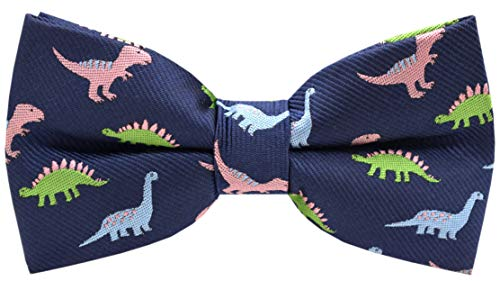 Carahere Little Boy's Handmade Pre-Tied Patterned Bow Ties For Kids (One Size, dinosaur pattern-5)
