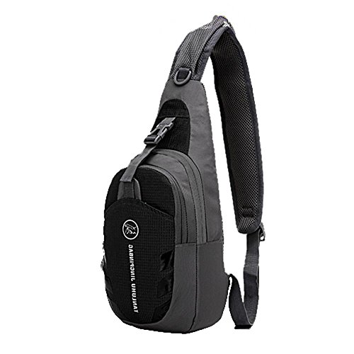 mmrm Nylon Sport Hommes poitrine sac à bandoulière diagonale paquet bandoulière Randonnée Camping Noir