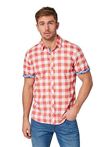 TOM TAILOR Herren 1008843 Freizeithemd, Rot (Washed Red Printed C 16225), Large (Herstellergröße: L)