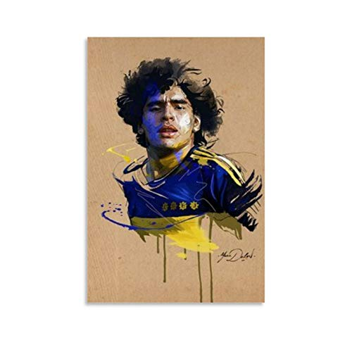 Soccer Player RIP Diego Maradona Sport Painting The Youngest Best Shooter in History Decor Poster Waterproof Posters Pictures Paintings Decorative Artwork for Bedroom Home Office Ready to Hang 16x