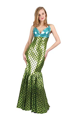 Bristol Novelty - Costume da sirena - Donna (Taglia unica 42-46 IT) (Verde/turchese)