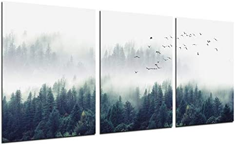 Foggy Forest Wall Art Painting 3 Piece Misty Mountain Trees Landscape Decor Flying Birds Nature product image