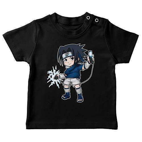 T-Shirt bébé Noir Parodie Naruto - Sasuke Uchiwa - Full Battery No Jutsu (T-Shirt de qualité Premium de Taille 24 Mois - imprimé en France)