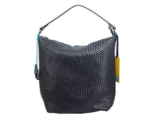GABS G000500T3 Sofia L geflochtene Shopping-Tasche mit Schulterriemen für Damen aus Leder, Schwarz - Schwarz  - Größe: Large