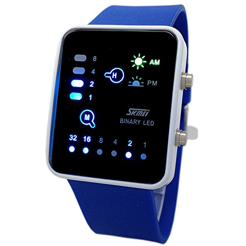 Carrie Hughes Boys girls Technological Sense Binary Digital LED Decoration Waterproof Sports Wrist Watches Blue CH186