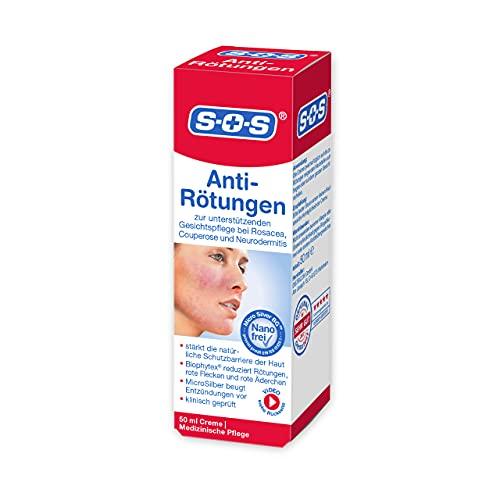 SOS Anti-Rötungen Medizinische Gesichtscreme, 1 x 50 ml, unterstützende Tagescreme bei Rosacea,...