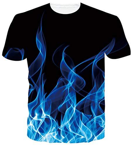 ALISISTER Unisex Tshirts Lustig 3D Blaues Rauchen Druck Kurzarm T Shirts Herren Damen Sommer Party Strand Rundhals Tees Tops M