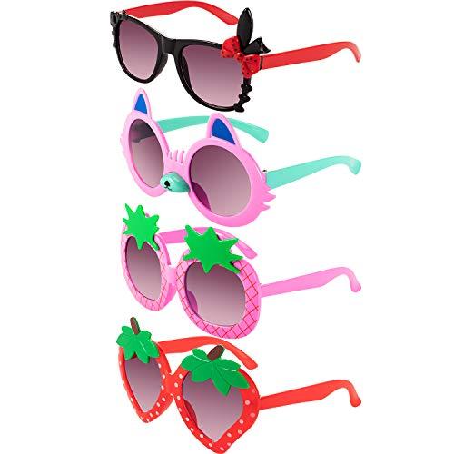 4 Pairs Toddler Sunglasses Girl Sunglasses for Toddler Girls Strawberry Pineapple Rabbit Shaped Sunglasses Funny Sunglasses (Red, Pink, Black, Light Pink)