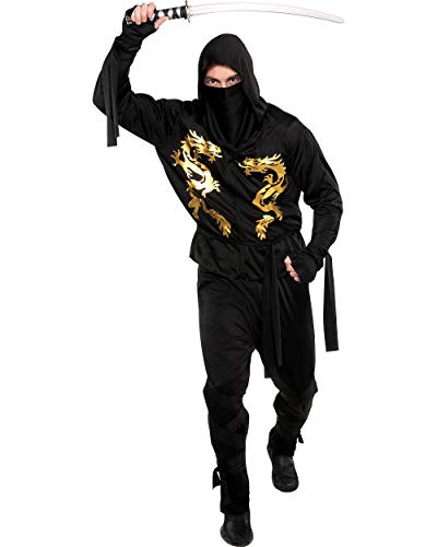 AMSCAN Black Dragon Ninja Halloween Costume for Adults, Standard, with Included Accessories