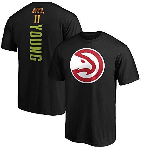 Camiseta De Baloncesto para Hombre, NBA Atlanta Hawks # 11 Trae Young Algodón De Manga Corta para Deportes Y Verano Casual Camiseta Unisex Top,Negro,XXL
