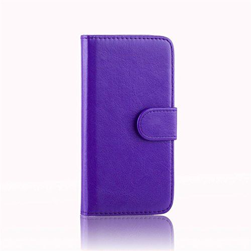 32nd PU Leder Mappen Hülle Flip Hülle Cover für Alcatel Pixi 3 (4.5), Ledertasche hüllen mit Magnetverschluss & Kartensteckplatz - Violett