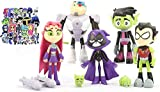 7 Pack 5' Teen Titans Go Figures Set Cake Toppers Toys Playset + Paper Stickers