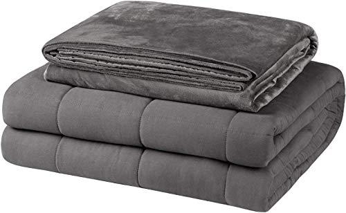 EUGAD Gewichtsdecke für Erwachsene, Therapiedecke mit abnehmbaren Warm Mikrofaser-Bezüge, Grau 7kg Schwere Decke 150x200cm - 100prozent Baumwolle mit Glasperlen, Anti Stress & für besseren Schlaf