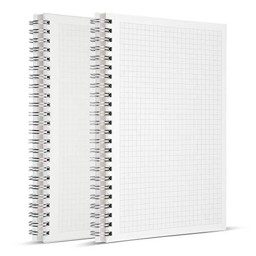 HULYTRAAT Graph Ruled Spiral Notebook (Pack of 2) – A5 Math Composition Wirebound Book for Students - Non Bleeding & Non Ghosting Ivory White Paper – 80 Perforated Sheet– Transparent Hardbound Cover