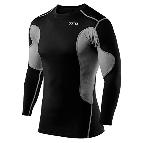 TCA Men's SuperThermal Compression Base Layer Top Long Sleeve Thermal Under...