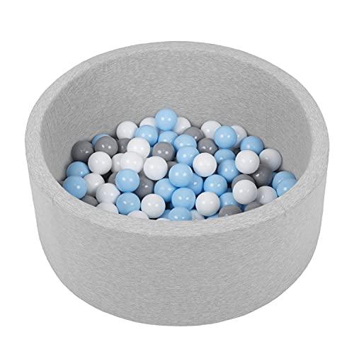 Selonis Piscine À Balles 70X30cm/150 Balles Ronde en Mousse pour Bébé Enfant, Gris Clair:Blanc/Gris/Babyblue
