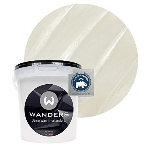 Wanders24® Metall-Optik (1 Liter, Perlmutt) Wandfarbe Metallic - zum Spachteln im Metallic Look - in 17 edlen Farbtönen erhältlich - Made in Germany