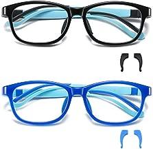 STORYCOAST 2 Pack Kids Blue Light Blocking Glasses Boys Girls Age 5-12 UV Protection Anti Eyestrain Computer Gaming TV Glasses Silicone TR90 Lightweight Eyeglasses (Black + Blue)