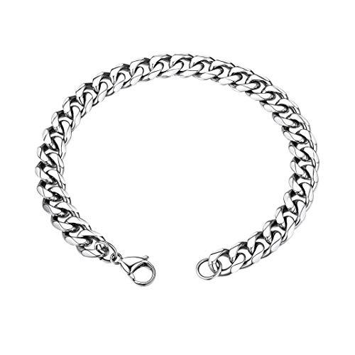 GoldChic Jewelry Diamant Cut Cuban Men Chain Bracelet, Cadena Pulsera de Acero Inoxidable Color Platino, 9mm de Ancho 21cm de Largo, Gratis Caja de Regalo