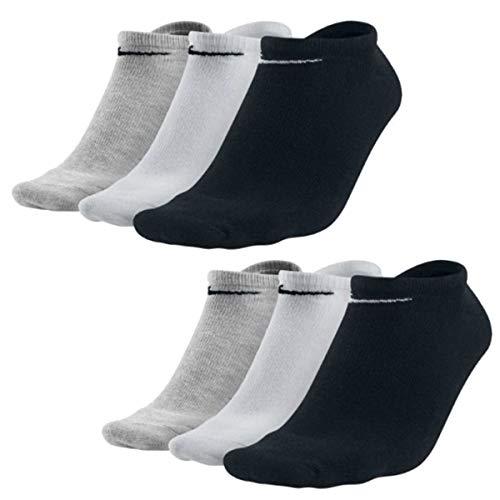 Nike 6 pares de calcetines para zapatillas, color negro/blanco/multicolor negro, blanco y gris. XL