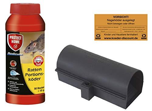 Köder-Discount: Rodicum Rattenportionsköder, Rattenbekämpfung und Ratten Köderbox für Rattengift, sichere Ausbringung von Rattenködern und Warnaufkleber