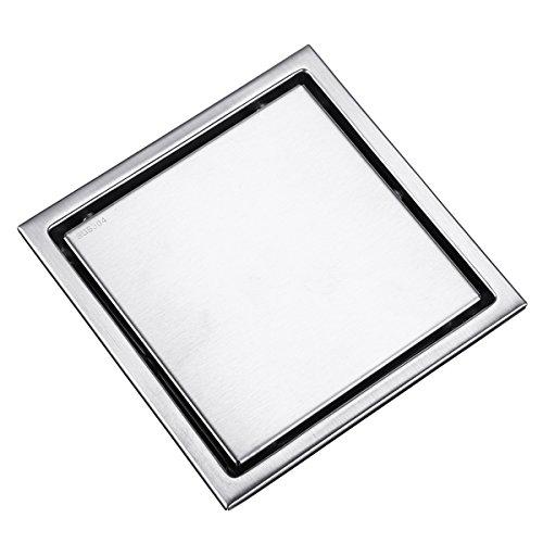 HELEISH 6 Zoll gebürsteter Edelstahl-Einsatz-Abfluss nass unsichtbares Badezimmer-Quadrat-Duschboden-Rost-Fliese Zubehörwerkzeug