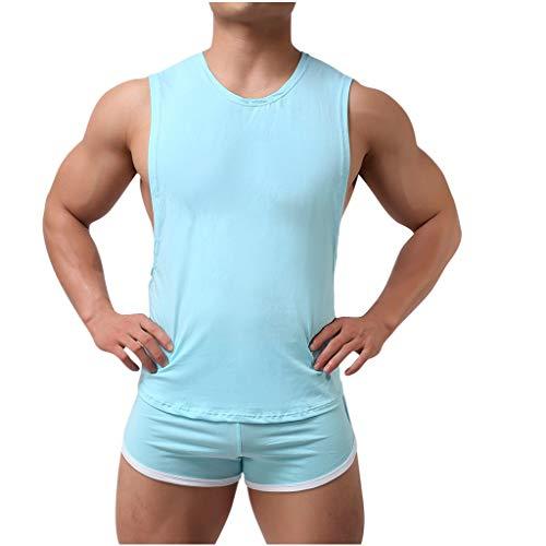 BUZHIDAO Sommer Schlafanzug Kurz Baumwolle Herren Kurz Pyjama Nachtwäsche Set Herren Einfarbige Weste Shorts Home Set