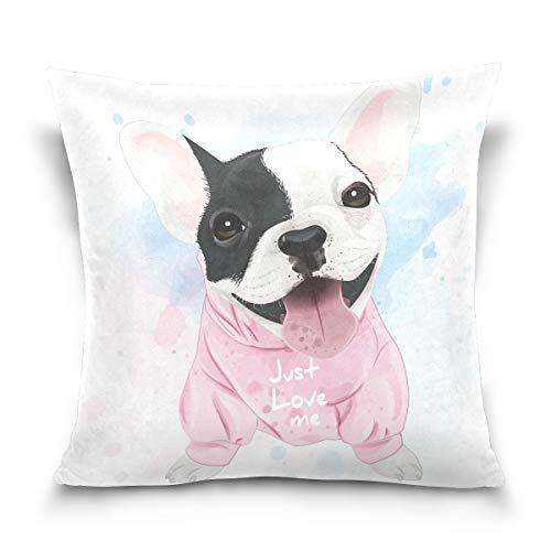 hengpai Cute French Bulldog Watercolor Square Pillow Cases Decorative Pillow Cover Cotton Velvet for Couch Safa
