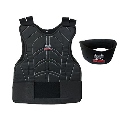 Maddog Sports Padded Chest Protector w/Neck Protector Safety Combo - Black