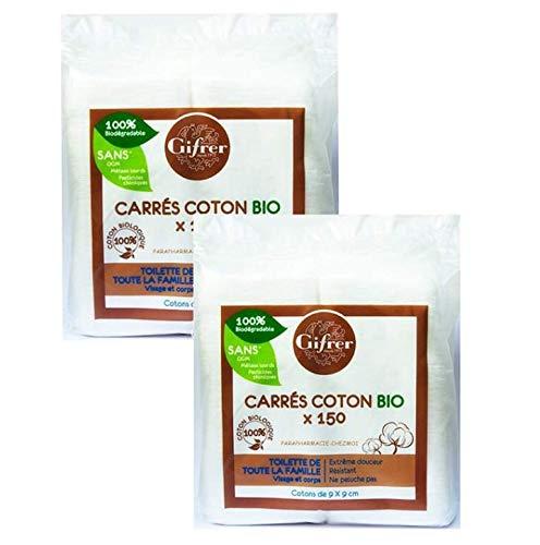 Gifrer Carrés de Coton Bio 9 x 9cm 150 unités - Lot de 2 x 150 Unités