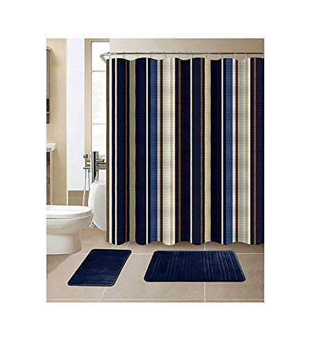 All American Collection 15-Piece Bathroom Set with 2 Memory Foam Bath Mats and Matching Shower Curtain | Designer Patterns and Colors (Stripe Navy)