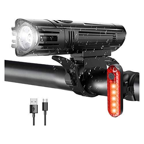 LKOPYUo Luces de bicicleta recargables USB, faros del ciclo de montaña LED, baterías Bicicleta Bicicleta Frontal luces traseras, MTB Bike Bike Front Light Light Light Combinations Conjunto de luz de b