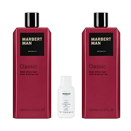 Marbert Man Classic Bath & Shower Gel 2 x 400 ml + Enzyme Peeling Puder 10 g Gratis