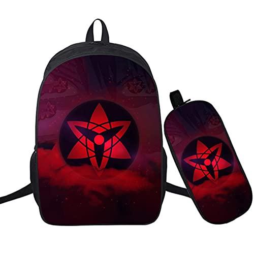 BKHNHUG Zaino per stampa digitale Naruto 3D in due pezzi zaino a colori per studenti borsa da scuola modello 10,16 pollici foro per auricolari + astuccio