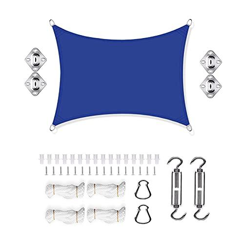 DANWU Toldo Vela de Sombra 6x7m Cuadrado Se Instala Fácil con Cuerda Libre Cuerdas de Fijación Patio Toldo para Patio de Jardín Terraza Camping, Azul Oscuro