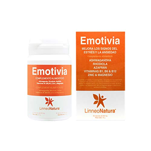 Emotivia | Suplemento para combatir el estrés y la ansiedad. Mejora tu estado de ánimo | Ashwagandha, Rhodiola, Azafrán, Vitaminas, Zinc y Magnesio | Envase 60 Cápsulas