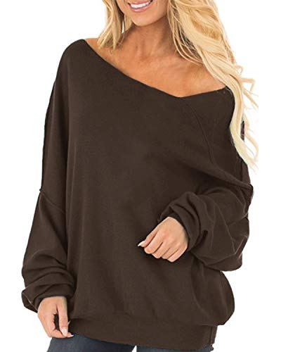 Auxo Womens Off The Shoulder Tops Baggy Sweatshirt Long Sleeve Blouse Oversized Sweater Jumper Pullover 01-Brown XL